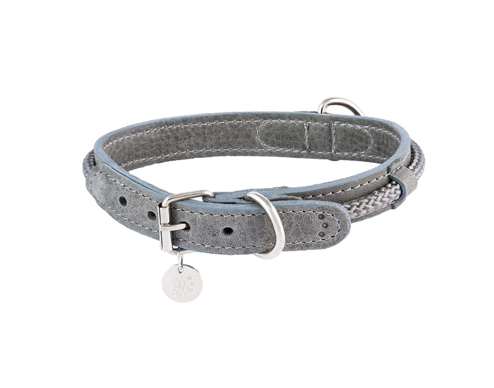 Lederhundehalsband Hafen Grey